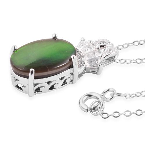 AA Canadian Ammolite (Ovl 14x10 mm), White Topaz Pendant with Chain in Rhodium Overlay Sterling Silver.
