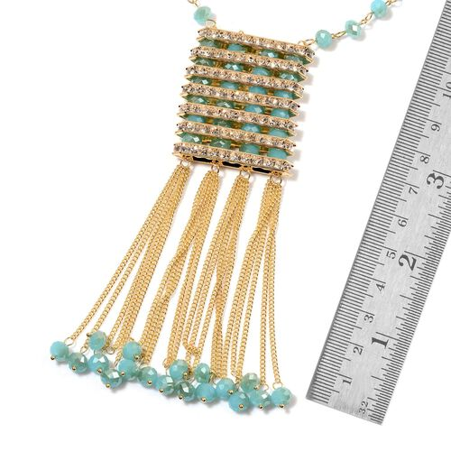 AAA White Austrian Crystal and Simulated Turquoise Necklace (Size 26 with 3 inch Extender) in Yellow Gold Tone