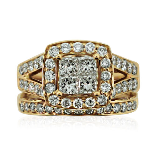 New York Close Out 14K Yellow Gold Diamond (Princess) (I2/G-H) 2 Ring Set 2.000  Ct, Gold wt 9.00 Gm