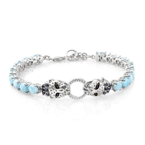 Larimar (Ovl), Kanchanaburi Blue Sapphire and Boi Ploi Black Spinel Panther Head Bracelet (Size 7.5