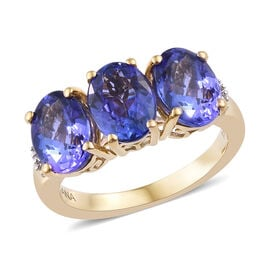 ILIANA 3.85 Ct AAA Tanzanite and Diamond 3 Stone Ring in 18K Gold 3.5 Grams