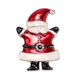 Multi Colour Austrian Crystal Enamelled Christmas Theme Santa Brooch