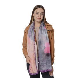 Close Out Deal- 100% Mulberry Silk Abstract Art Pattern Scarf (Size 180x110Cm) - Pink and Grey