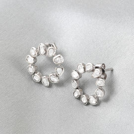 GP Polki Diamond and Blue Sapphire Earrings (with Push Back) in Platinum Overlay Sterling Silver
