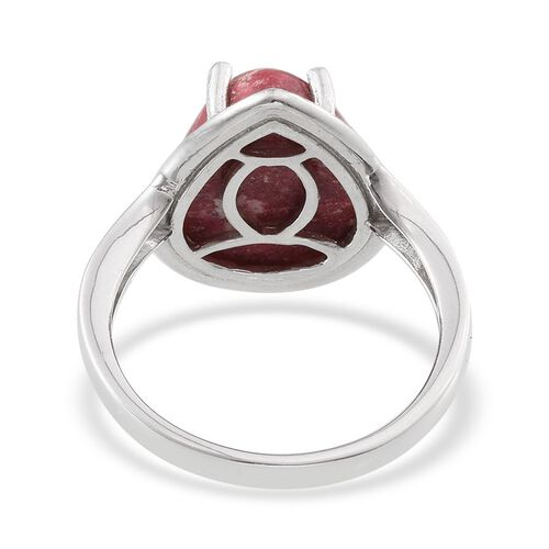 Norwegian Thulite (Pear) Ring in Platinum Overlay Sterling Silver 12.000 Ct.