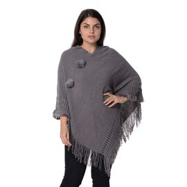 Knit Poncho with Pom Pom and Tassel (Size 90x75 Cm) - Grey