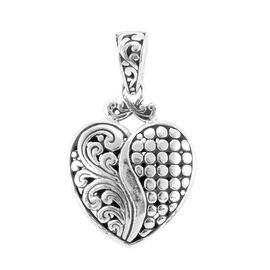 Royal Bali Collection- Sterling Silver Heart Charm Pendant
