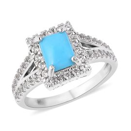 SLEEPING BEAUTY TURQUOISE (1.25 Ct),White Zircon Sterling Silver Ring  2.300  Ct.