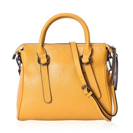 Super Soft 100% Genuine Leather Yellow Colour Tote Bag with External Zipper Pocket and Removable Sho