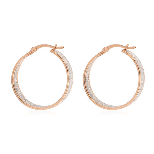 NY Close Out Deal- Simulated Diamond Rose Gold Overlay Sterling Silver Stardust Hoop Earrings