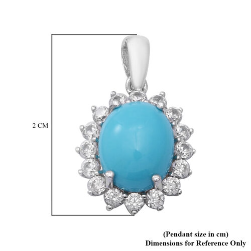 Arizona Sleeping Beauty Turquoise and Natural Cambodian Zircon  Pendant in Rhodium Overlay Sterling Silver 2.78 Ct.