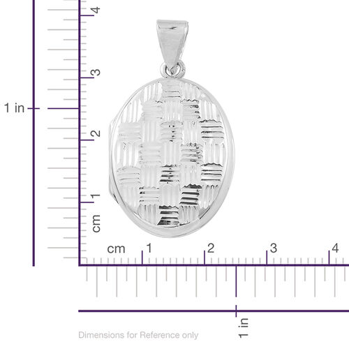 Designer Inspired - Sterling Silver Checks Pattern Engraved Oval Locket Pendant, Silver wt. 5.19 Gms.