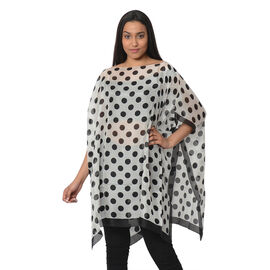 100% Mulberry Silk Kaftan One Size (90x100 Cm) - Black and White Polka Dot