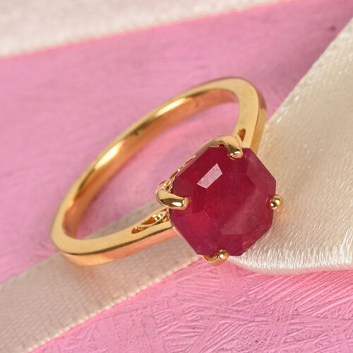 One Time Deal- African Ruby Solitaire Ring in 14K Gold Overlay Sterling Silver 3.00 Ct.