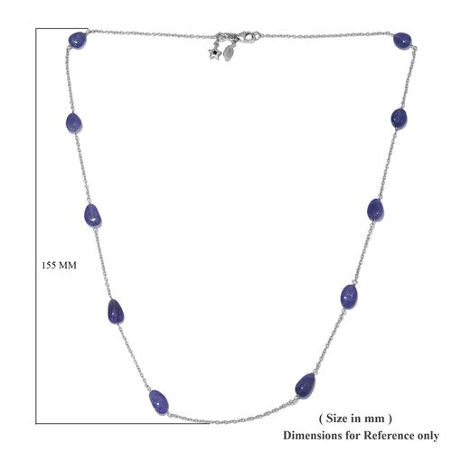 GP Tanzanite and Blue Sapphire Necklace (Size 20) in Platinum Overlay Sterling Silver 22.02 Ct.