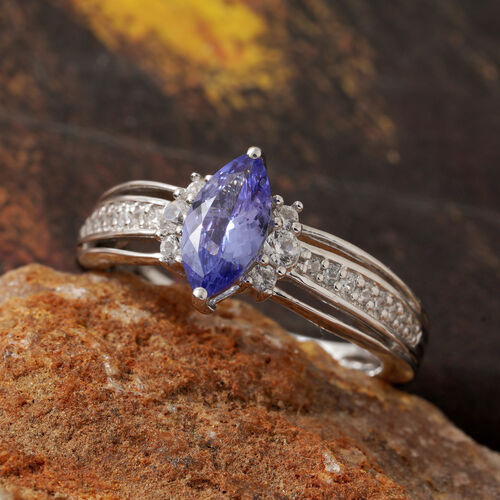 Tanzanite (Mrq), Natural Cambodian Zircon Solitaire Ring in Platinum Overlay Sterling Silver 1.000 Ct.
