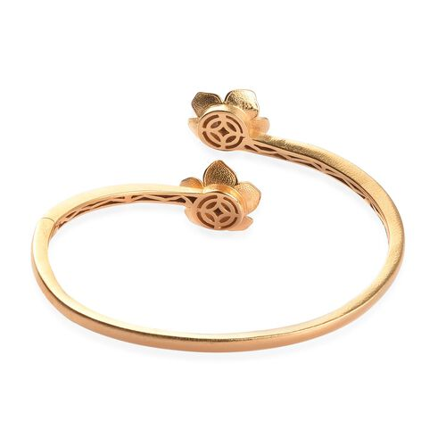 Diamond Floral Eanmelled Bangle (Size 7.5) in 18K Yellow Gold Plated