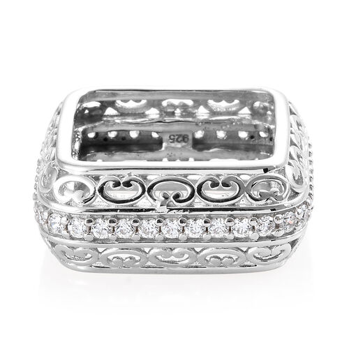 J Francis - Platinum Overlay Sterling Silver (Rnd) Ring Made with SWAROVSKI ZIRCONIA, Silver wt 8.08 Gms