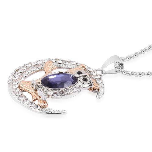 AAA Black and White Austrian Crystal, Simulated Tanzanite Owl Sitting on Tree in Moon Night Pendant With Chain Rose and Silver Tone