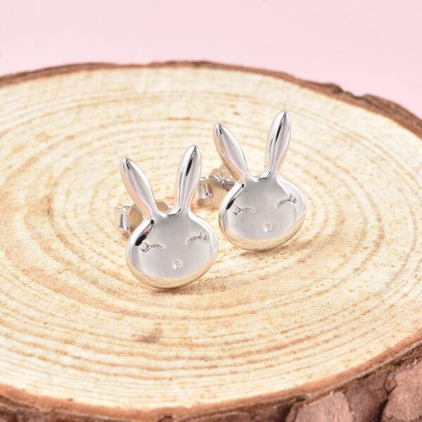 Bunny Earrings for Girls in Sterling Silver