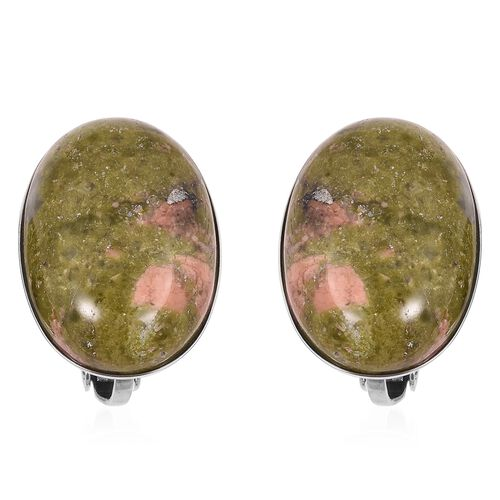 One Time Deal-Unakite (Ovl 18-13 mm) Clip On Earrings in Stainless Steel