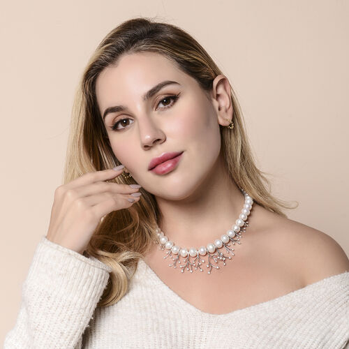 White Edison Pearl and Natural Cambodian Zircon Necklace (Size 18 with Magnetic Lock) in Rhodium Overlay Sterling Silver