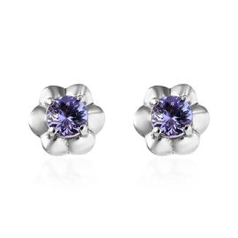 Tanzanite (Rnd) Floral Stud Earrings (with Push Back) in Platinum Overlay Sterling Silver 0.75 Ct.