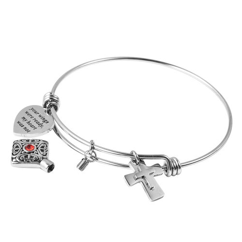 2 Piece Set - Red Austrian Crystal Adjustable Charm Bangle (Size 7.5) and  Funnel with Needle in Stainless Steel