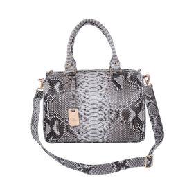 LA MAREY 100% Genuine Python Leather Tote Bag with Adjustable Shoulder Strap (Size 29x24.5x15cm) - B