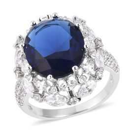 Simulated Blue Sapphire (Ovl 14x10 mm), Simulated Diamond Ring  in Silver Plated