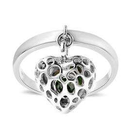 RACHEL GALLEY Angel Heart Collection - Russian Diopside Lattice Heart Charm Ring in Sterling Silver