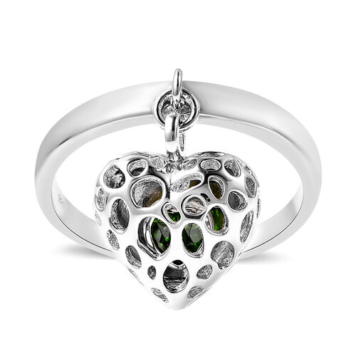 RACHEL GALLEY Angel Heart Collection - Russian Diopside Lattice Heart Charm Ring in Rhodium Overlay