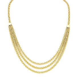Italian Made Byzantine Chain Multi Strand Necklace in 9K Gold 13.44 Grams 20 Inch