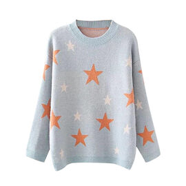 Kris Ana Star Print Wool Jumper One Size (8-16) - Blue
