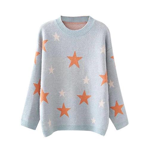 Kris Ana Star Print Wool Jumper One Size (8-16) - Blue