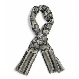 100% Cashmere Wool Black, Grey and White Colour Chevron Pattern Scarf  L180x W70 Cm