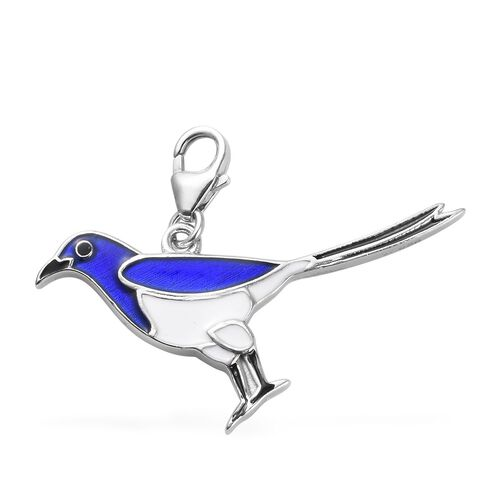Platinum Overlay Sterling Silver Enamelled Bird Charm