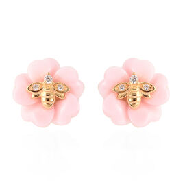Jardin Collection - Pink Mother of Pearl and Natural Cambodian Zircon Bee and Flower Stud Earrings (