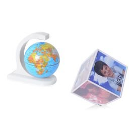 Rotating Photo Frame Cube and Magical Globe Set (Size 10.7x10.7x10.7) -  White