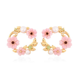 Jardin Collection - Pink Mother of Pearl, Freshwater Pearl and Multi Gemstone Floral Earrings (with