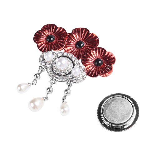 TJC Poppy Design - Simulated Pearl, White Austrian Crystal and Simulated Black Spinel Enamelled Magnetic Poppy Brooch