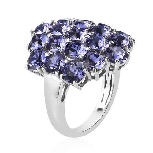 J Francis Crystal from Swarovski - Tanzanite Colour Crystal Cluster Ring in Platinum Plated
