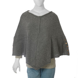 80% Wool Graphite Melange Colour Poncho