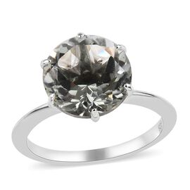 Prasiolite (Rnd 10 mm) Solitaire Ring in Platinum Overlay Sterling Silver 3.50 Ct.