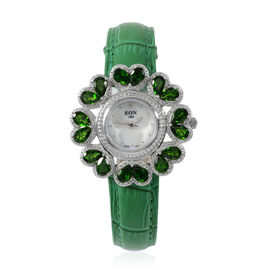 EON 1962 Swiss Movement Russian Diopside and Diamond Water Resistant Watch with White Mother of Pear