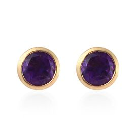 Amethyst Stud Earrings (with Push Back) in 14K Gold Overlay Sterling Silver 0.77 Ct.