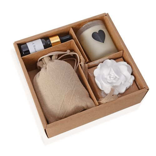 Nature Set in Gift Box - Sachet, Chalk Flower and Scented Candle with 10 ml Essential Oil Lilac and Wild Rose