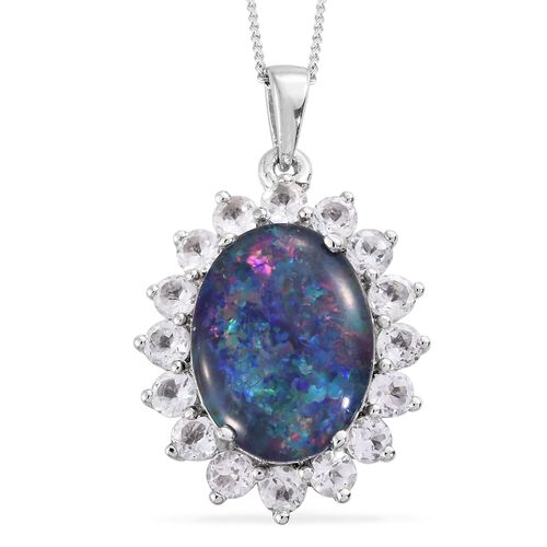 One Time Offer-Rare Size Australian Boulder Opal 5.10Ct (Ovl 16x12 mm), White Topaz Pendant with Chain in Platinum Overlay Sterling Silver 7.500 Ct.