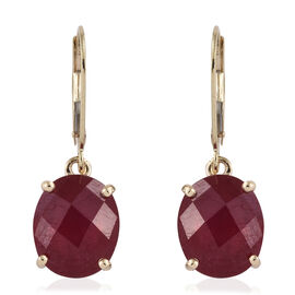 9K Yellow Gold Checkerboard Faceted AAA African Ruby (Rnd) Lever Back Earrings 13.850 Ct.