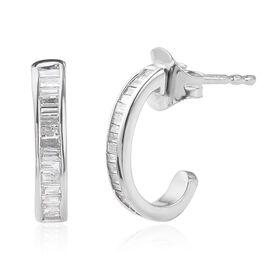 9K White Gold SGL Certified Diamond (Bgt) (I2-I3/G-H) Earrings (with Push Back) 0.330  Ct.